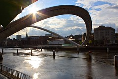 Millennium Bridge, open over the Tyne.
