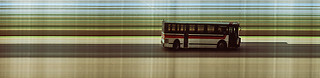 Trimet bus passing my house, slit scan image