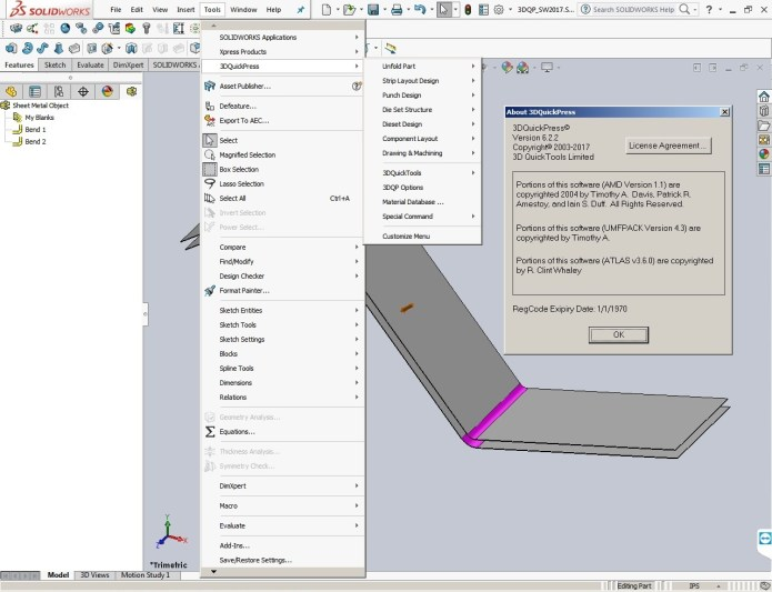 3DQuickPress v6.2.2 HotFix only for SolidWorks 2011-2017 full license