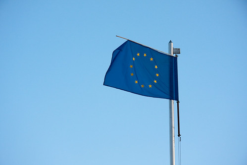 Worn out European Union blue flag