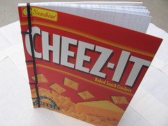 cheez-it book - blank journal made from an empty box of cheez its