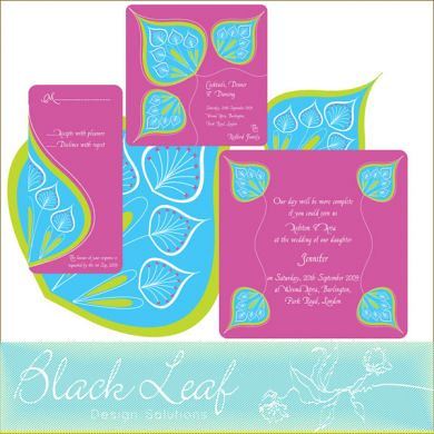 Peacock Wedding Card Set - Pink