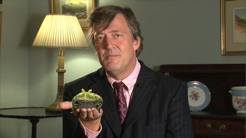 Stephen Fry with frog supporting The Prince's Rainforests Project