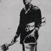 Banksy in Boston: Figure from the F̶O̶L̶L̶O̶W̶ ̶Y̶O̶U̶R̶ ̶D̶R̶E̶A̶M̶S̶ CANCELLED piece on Essex St, Chinatown, Boston