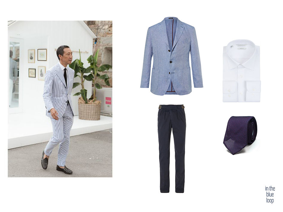 Camoshita viste traje masculino de verano con zapatos loafer y corbata