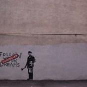 Banksy in Boston: Portrait from the F̶O̶L̶L̶O̶W̶ ̶Y̶O̶U̶R̶ ̶D̶R̶E̶A̶M̶S̶ CANCELLED piece in context on Essex St, Chinatown, Boston