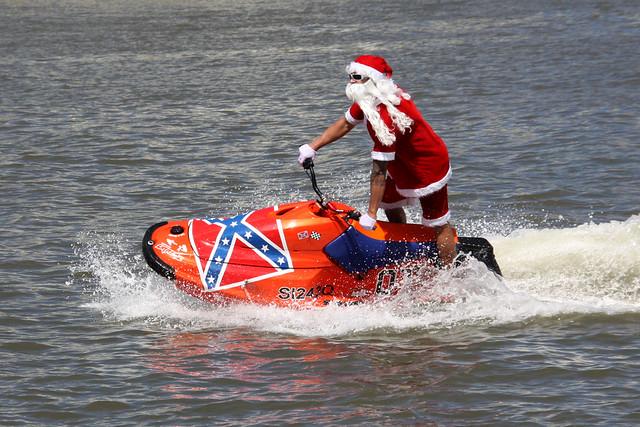 Santa on a jet ski on the Brisbane River 2