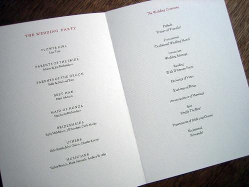 Monogram printable wedding program (inside)