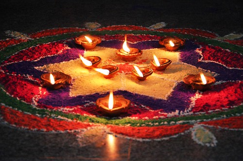 Diwali Tealights and Rangoli