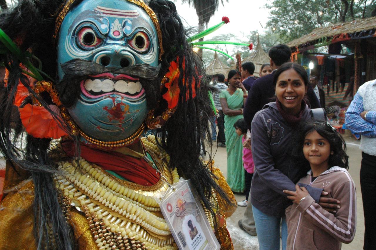 Chau dancer movements, Surajkund, Haryana, India