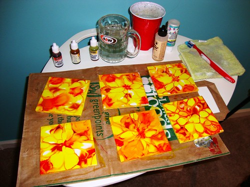 Alcohol Inks and Tile