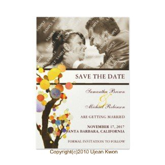 Whimsical Trees: Photo Save the Date Wedding Invitations