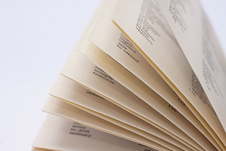 Yellowed pages from a dictionary