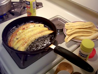 Pastelón - Frying Plantains