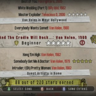 Guitar Hero: Van Halen User Interface