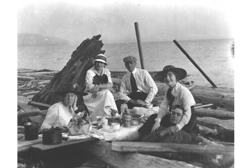 Picnic at beach below Magnolia Bluff, Seattle, Washington