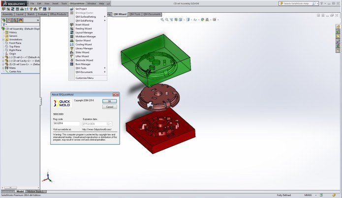 design mold with 3DQuickMold 2014 SP2.0 for SolidWorks 2011-2015 full