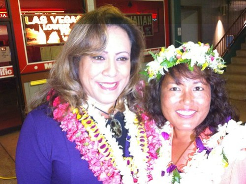 Elle Cochran and Mele Carroll await second print out at @AkakuTV #mauivotes #hivotes #election