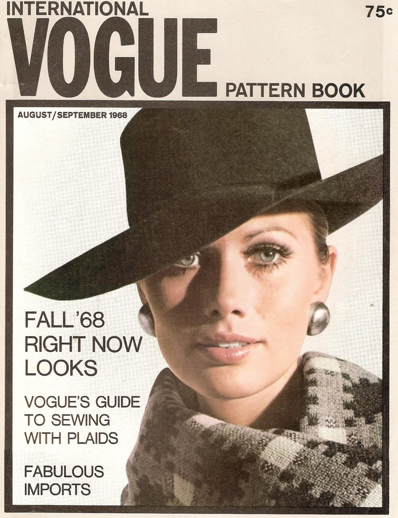 Maud Adams on the cover of Vogue Pattern Book, August/September 1968