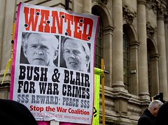 Bush and Blair Wanted for War Crimes, Iraq Inquiry, London
