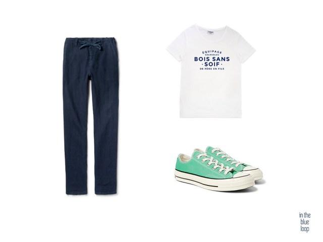 Look casual masculino para verano con pantalón azul, camiseta blanca y sneakers o zapatillas converse