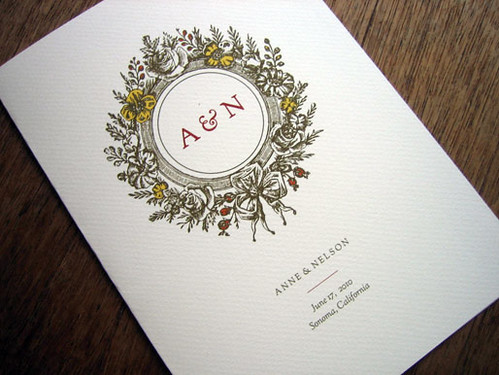 Monogram printable wedding program