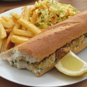 Oyster po'boy with coleslaw and fries