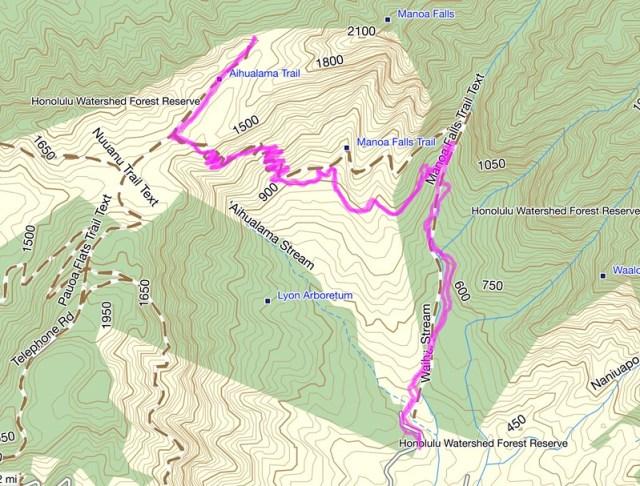 Aihualama Trail Topo Map