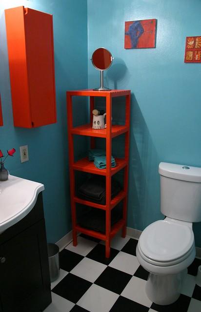 After: Bathroom Shelves & Toilet