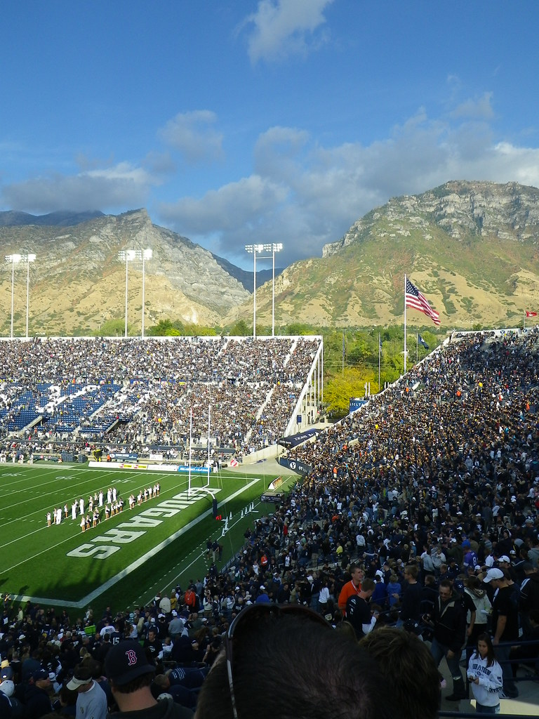 BYU Cougar Stadium with the Wasatch Mountains in the Background