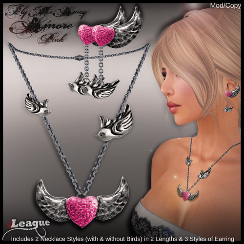 *League* Fly Me Away Amore Jewellery Set -Pink