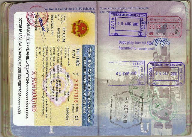 USA Passport: Vietnamese Visa, Vietnam, Singapore