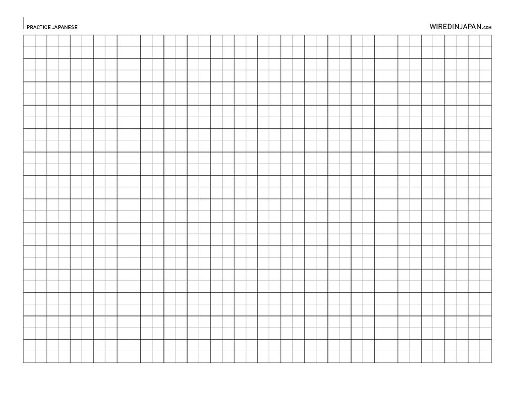 Wired Kana Blank Japanese Practice Sheet