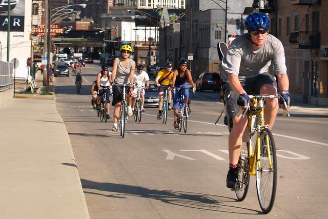 Bicycling on Milwaukee Avenue