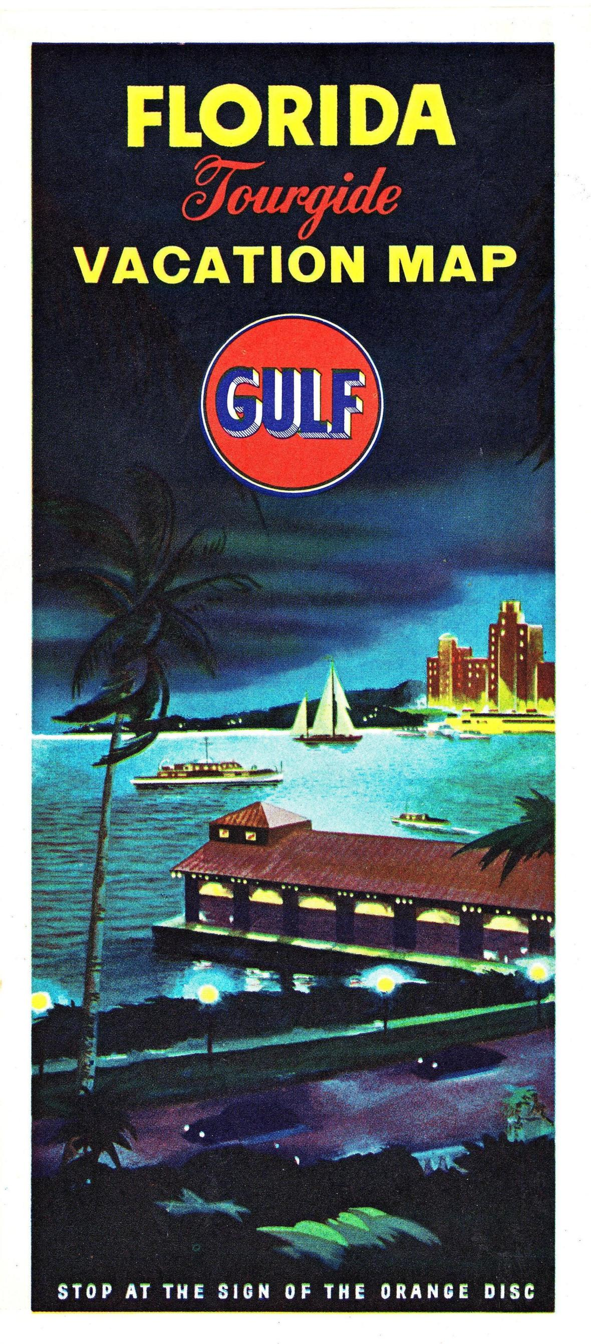 Gulf Oil Florida Tourguide Vacation Map cover - 1955