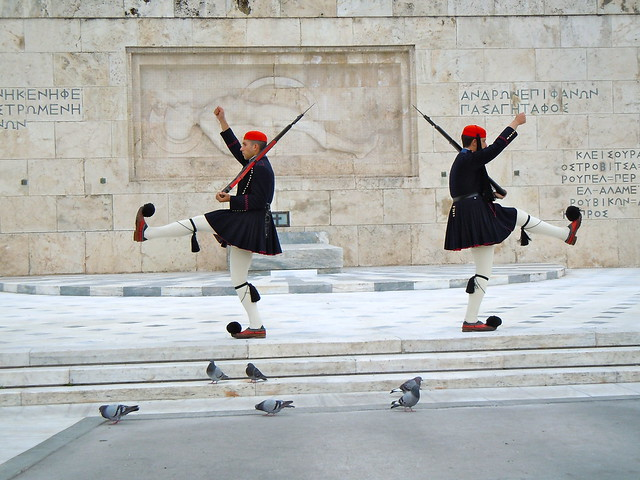 Evzones changing the guard at the Tomb of the Unknown Soldier