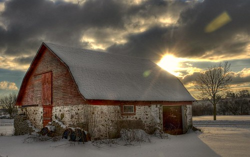 Winter Afternoon with Barn