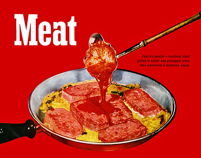 1947 ... spam pineapple and bbq sauce!