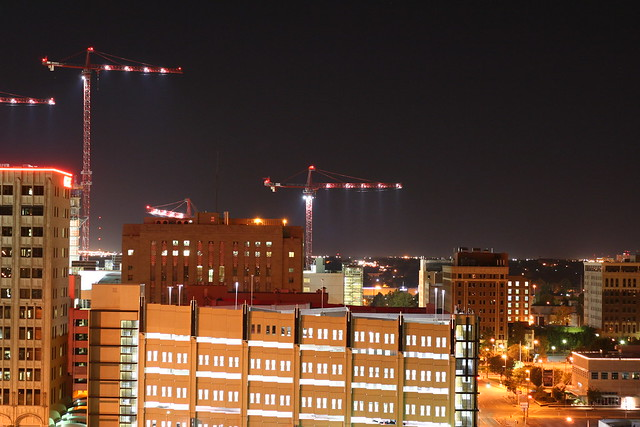 cranes and parking garage