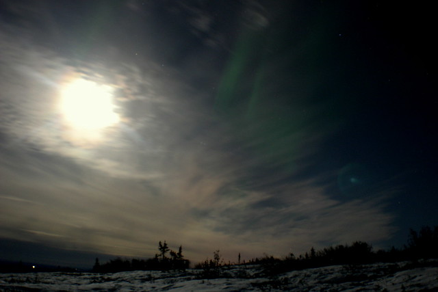 Moonlit Clouds and Aurora