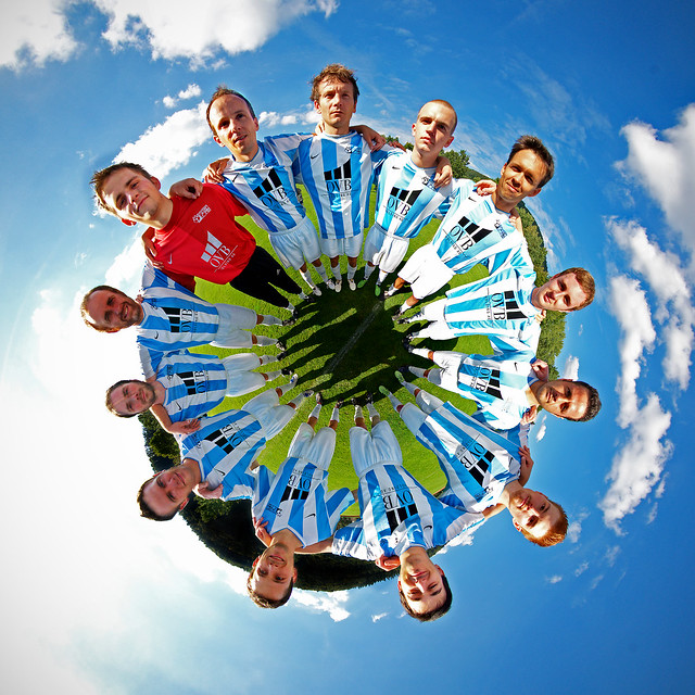 Mannschaftsfoto - stereographic team photo