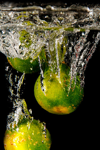 Fruits being Dropped into a Fish Tank (the first few tries) (1/5)