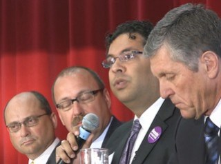 Ric McIver, Jon Lord, Naheed Nenshi, Wayne Stewart, but no Bob Hawkesworth (cropped best fit)