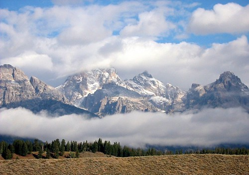 Grand Tetons and low-riding clouds