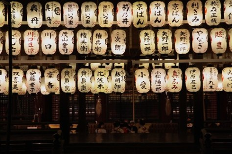 Lanterns outside a temple
