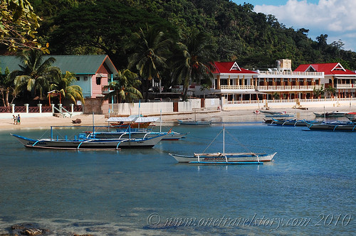 View of Lally & Abet and El Nido Beach Hotel from road to Caalan, El Nido, Palawan
