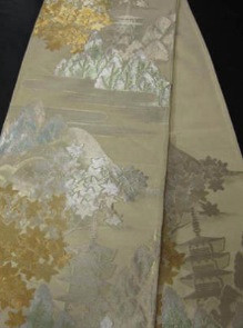 Fukuro Obi with Goju-no-tou, Momiji, Trees, and Mountains