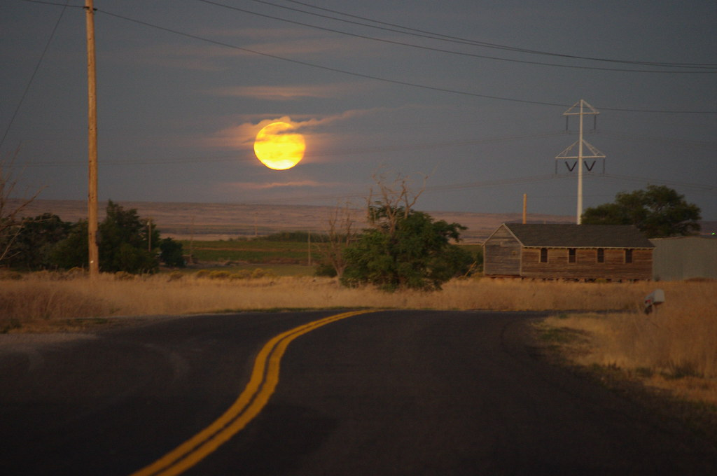 The Moon Rises over High Desert Country (Idaho)