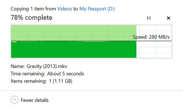 ลองดูความเร็วในการก็อปปี้ของ WD My Passport SSD