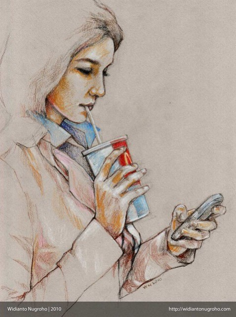 Drinking Soft Drink while Texting